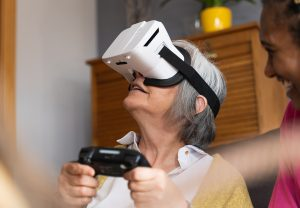Older,Woman,Virtual Reality,Technology,Connection,Lonely,Alone
